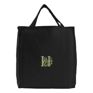 Flower Monogram Initial H Embroidered Bag