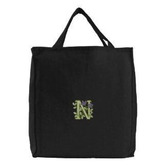 Flower Monogram Initial N Embroidered Bag