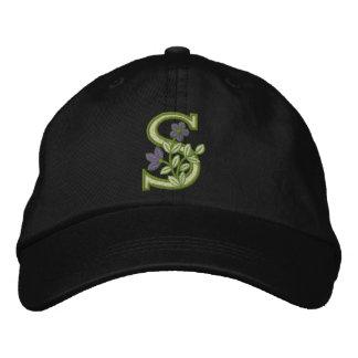 Flower Monogram Initial S Embroidered Baseball Caps