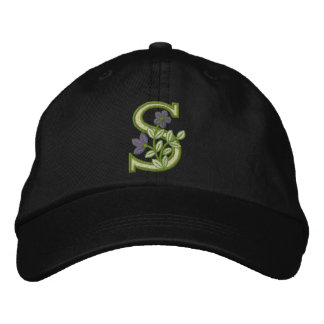 Flower Monogram Initial S Embroidered Hat