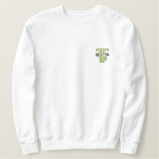 Flower Monogram Initial T Embroidered Sweatshirt