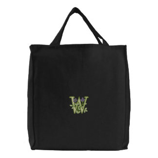 Flower Monogram Initial W Embroidered Tote Bags