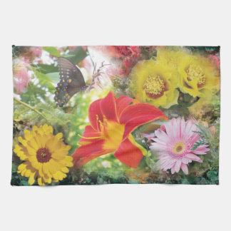 flower montage kitchen towel