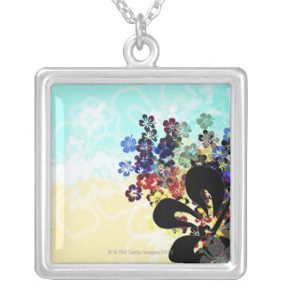 Flower Montage Silver Plated Necklace
