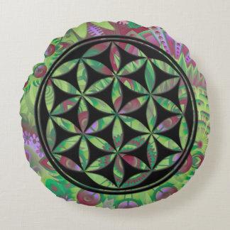 Flower of Gaia (black) Round Cushion
