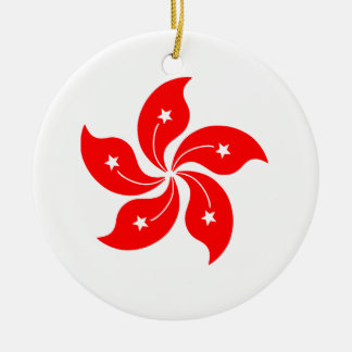 Flower of Hong Kong Round Ceramic Decoration