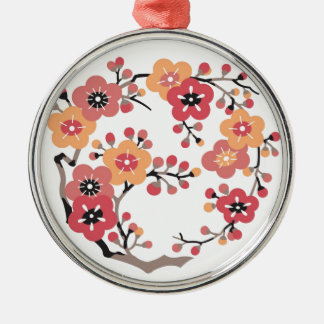 Flower of Japanese plum Silver-Colored Round Decoration