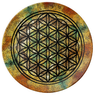 "Flower of Life 10.75"" Decorative Porcelain Plate"