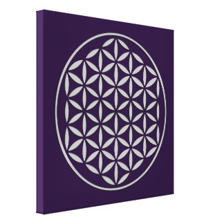 Flower OF Life 2 - silver stamp Stretched Canvas Print