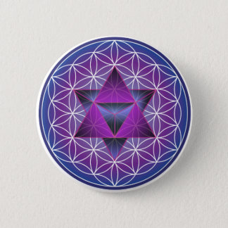 FLOWER OF LIFE AND STAR TETRAHEDRON 6 CM ROUND BADGE