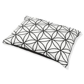 Flower of Life Big Pattern – Black on White Pet Bed