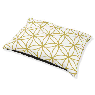 Flower of Life Big Pattern – Gold on White Pet Bed