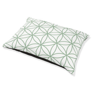 Flower of Life Big Pattern Green on White Pet Bed