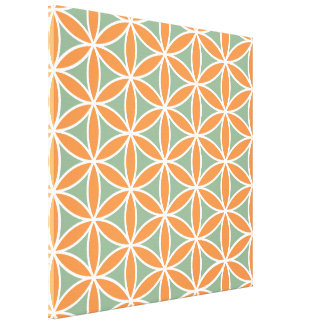 Flower of Life Big Pattern White Green Orange Canvas Print