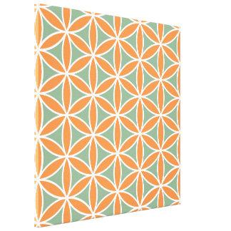 Flower of Life Big Pattern White Green Orange Canvas Prints