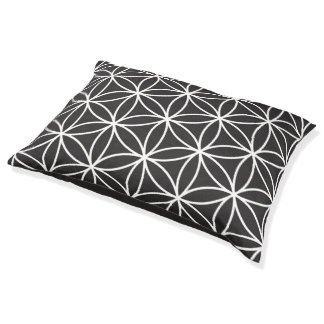 Flower of Life Big Pattern – White on Black Pet Bed