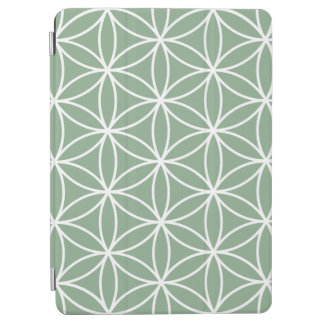 Flower of Life Big Pattern White on Green iPad Air Cover