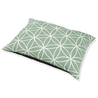 Flower of Life Big Pattern White on Green Pet Bed