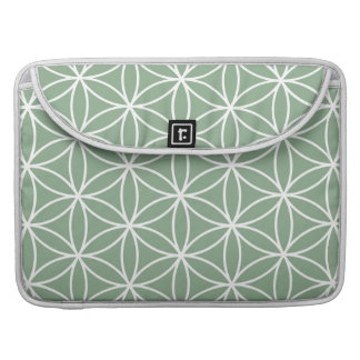 Flower of Life Big Pattern White on Green Sleeve For MacBook Pro