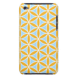 Flower of Life Big Ptn Orange White & Blue Barely There iPod Cases