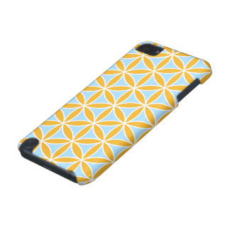 Flower of Life Big Ptn Orange White & Blue iPod Touch (5th Generation) Cases