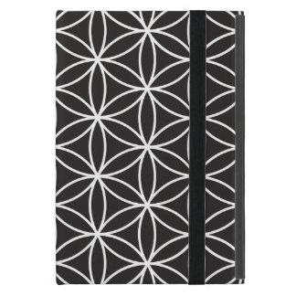 Flower of Life Big Ptn White on Black iPad Mini Cover