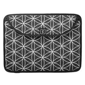 Flower of Life Big Ptn White on Black Sleeve For MacBook Pro