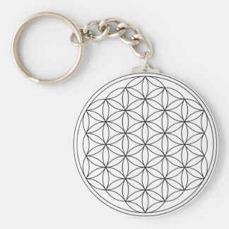 Flower of Life (Black and White) Key Ring