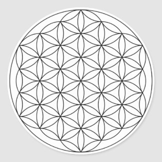 Flower of Life (Black and White) Round Sticker