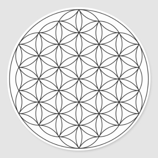 Flower of Life (Black and White) Round Sticker