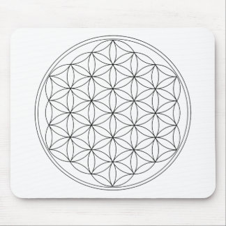 Flower of Life Black Line Mouse Pads