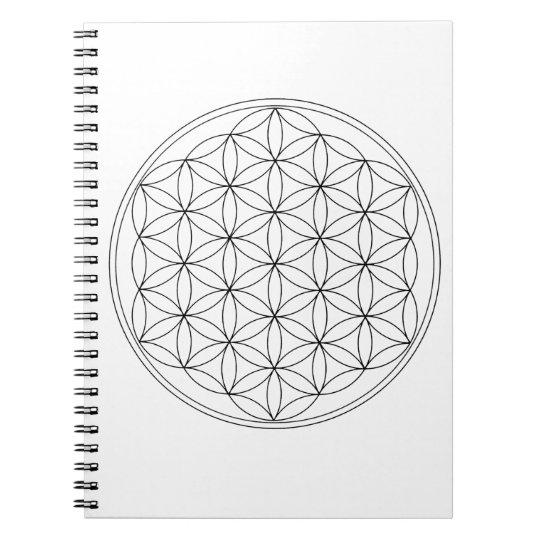 Flower of Life Black Line Notebook