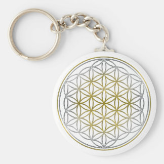 FLOWER OF LIFE / Blume des Lebens - BiColor Basic Round Button Key Ring