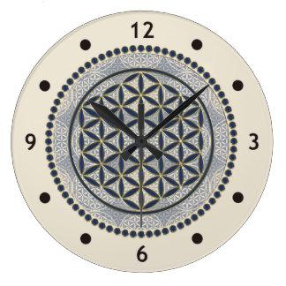 Flower of Life / Blume des Lebens - Button IX Large Clock