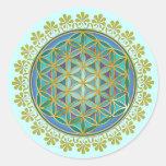Flower Of Life / Blume des Lebens - Button V Round Sticker