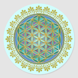 Flower Of Life / Blume des Lebens - Button V Round Sticker