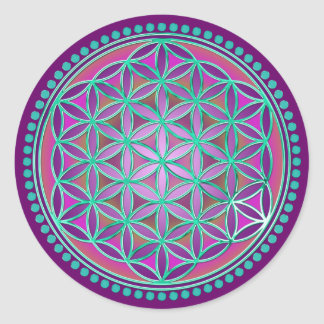 Flower Of Life / Blume des Lebens - Button VI Classic Round Sticker