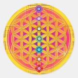 FLOWER OF LIFE / Blume des Lebens - chakras Round Sticker