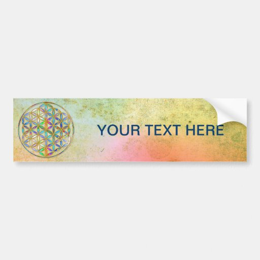 Flower of Life / Blume des Lebens - gold colorful Bumper Stickers