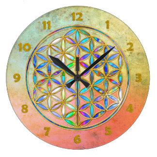 Flower of Life / Blume des Lebens - gold colorful Clock