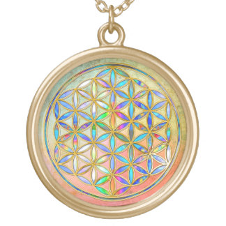 Flower of Life / Blume des Lebens - gold colorful Gold Plated Necklace