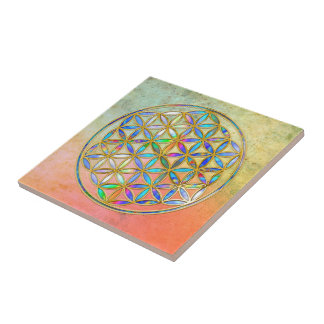 Flower of Life / Blume des Lebens - gold colorful Small Square Tile