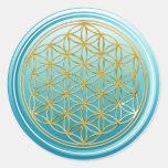 Flower Of Life / Blume des Lebens - GOLD cyan Round Sticker