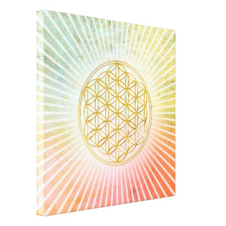 Flower of Life / Blume des Lebens - gold Gallery Wrapped Canvas