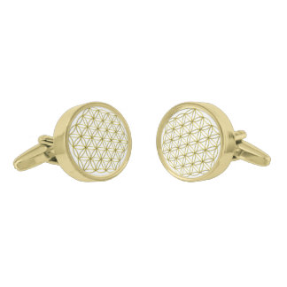Flower of Life (Blume des Lebens) Gold Gold Finish Cuff Links