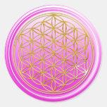 Flower Of Life / Blume des Lebens - GOLD pink Round Sticker