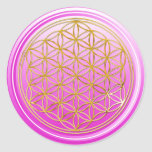 Flower Of Life / Blume des Lebens - GOLD pink Stickers