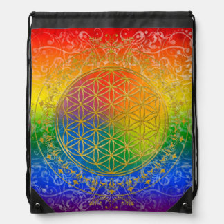 Flower of Life / Blume des Lebens - gold rainbow Drawstring Bag