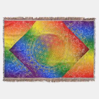 Flower Of Life / Blume des Lebens - GOLD rainbow Throw Blanket