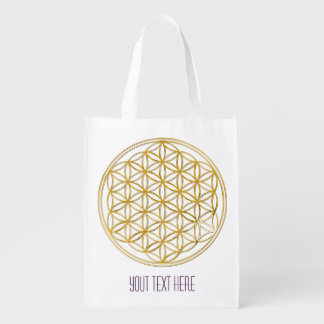 Flower Of Life / Blume des Lebens - GOLD Reusable Grocery Bag